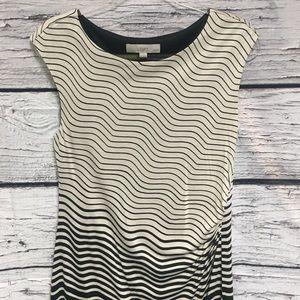 Ann Taylor LOFT Dress. Beige/Black. Medium Petite